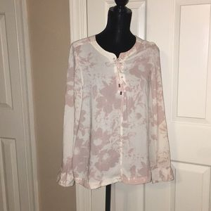 Calvin Klein Jeans cream and pink silk blouse L